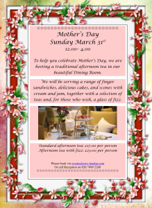 Mother's Day 31st March